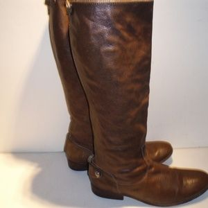 FRYE Melissa Button Back Brown Leather Boots 9 M